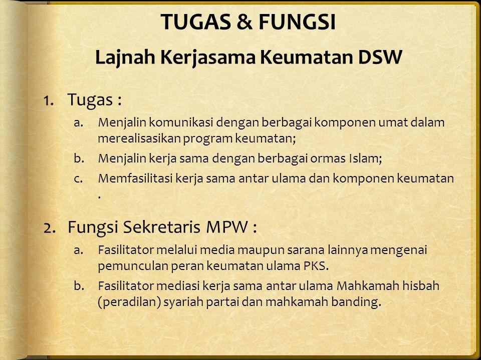 TUGAS & FUNGSI Lajnah Kerjasama Keumatan DSW