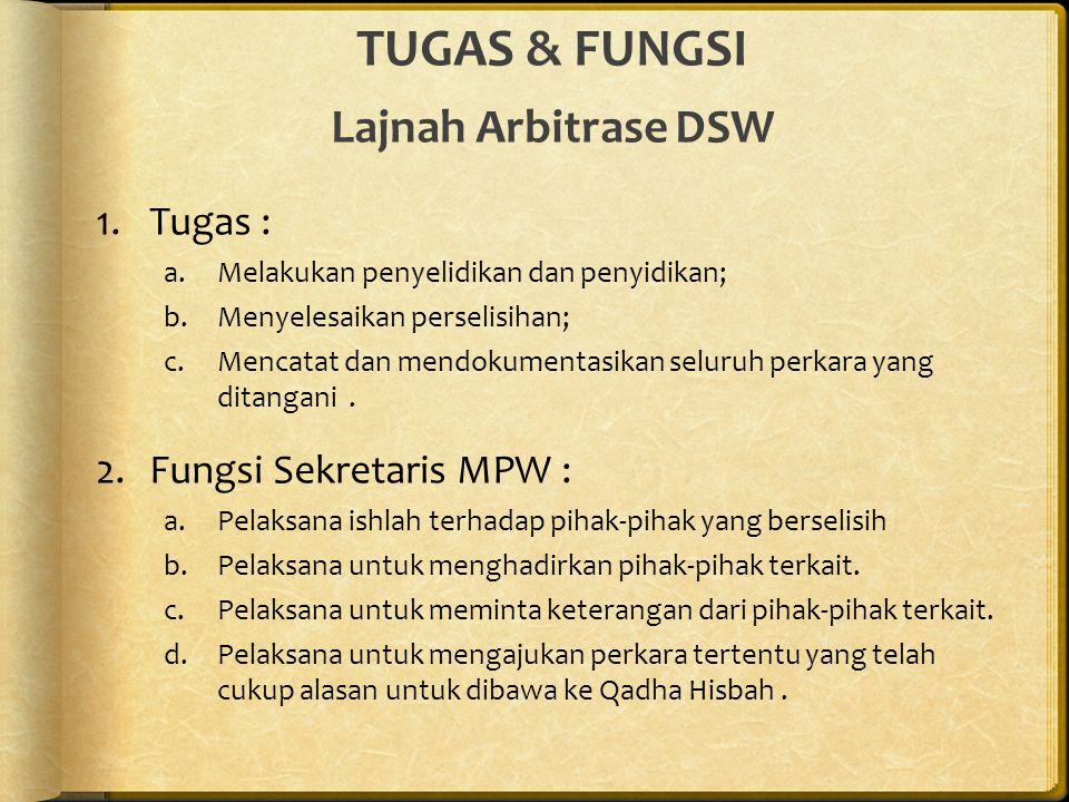 TUGAS & FUNGSI Lajnah Arbitrase DSW