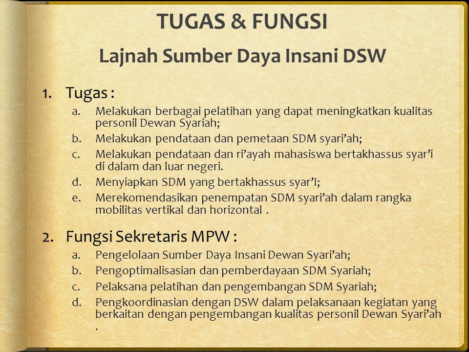 TUGAS & FUNGSI Lajnah Sumber Daya Insani DSW
