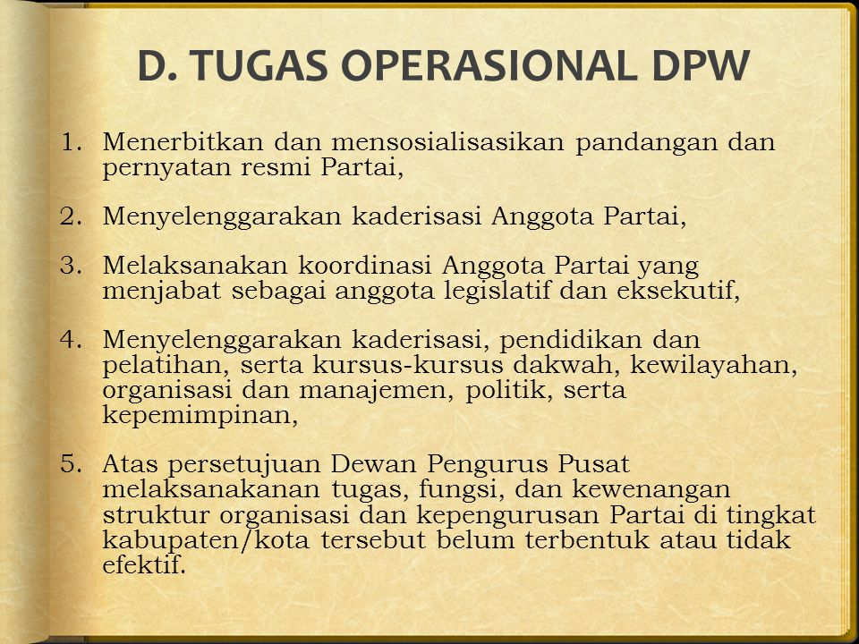 D. TUGAS OPERASIONAL DPW