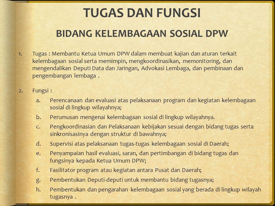 TUGAS DAN FUNGSI BIDANG KELEMBAGAAN SOSIAL DPW