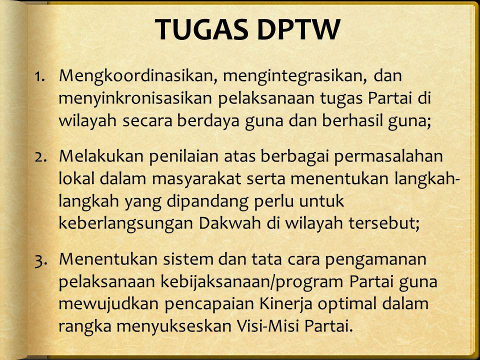 TUGAS DPTW Mengkoordinasikan, mengintegrasikan, dan menyinkronisasikan pelaksanaan tugas Partai di wilayah secara berdaya guna dan berhasil guna;