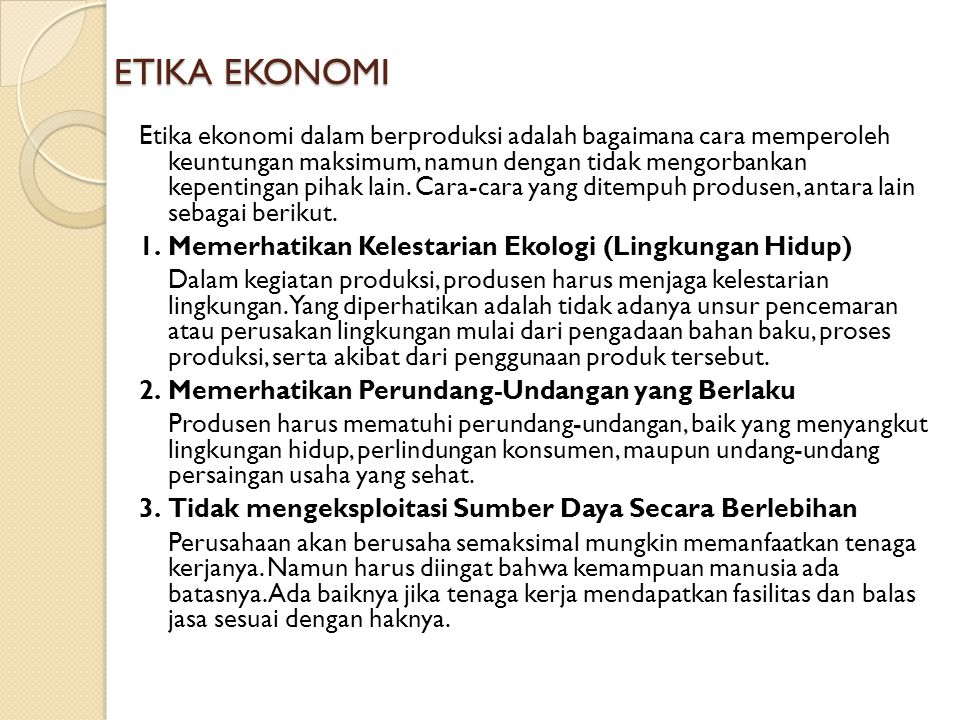 ETIKA EKONOMI