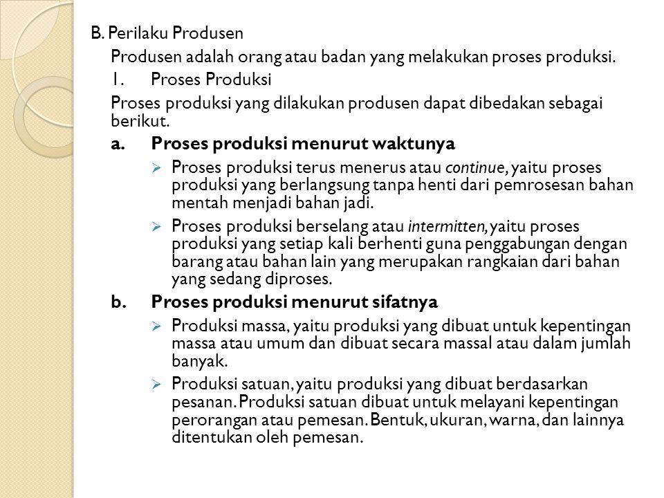 B. Perilaku Produsen Produsen adalah orang atau badan yang melakukan proses produksi. 1. Proses Produksi.