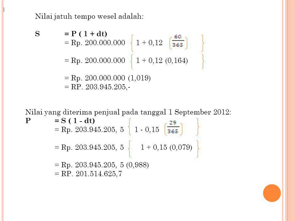 Nilai jatuh tempo wesel adalah: S = P ( 1 + dt)