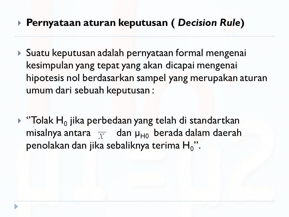Pernyataan aturan keputusan ( Decision Rule)
