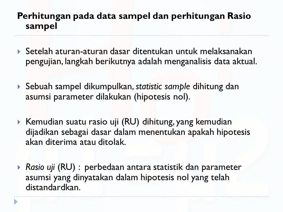 Perhitungan pada data sampel dan perhitungan Rasio sampel