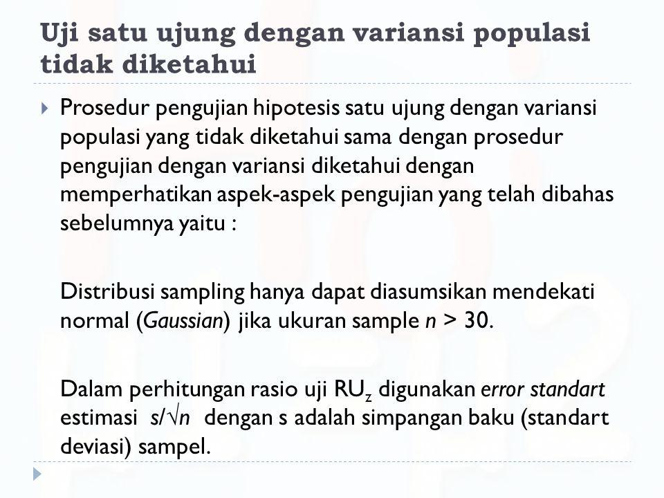 Uji satu ujung dengan variansi populasi tidak diketahui