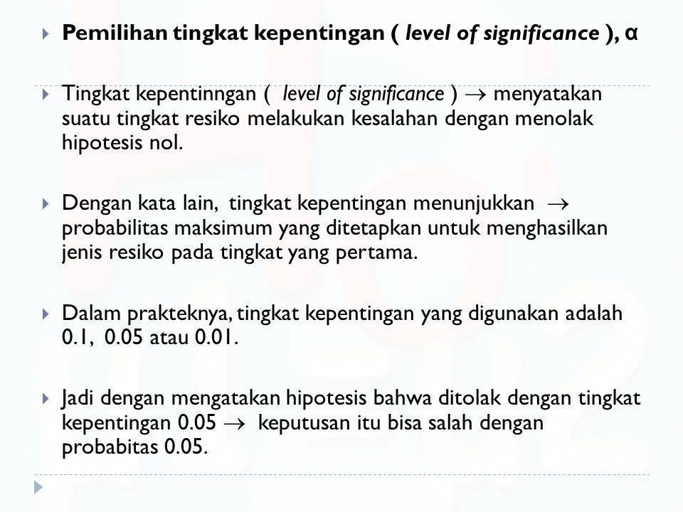 Pemilihan tingkat kepentingan ( level of significance ), α