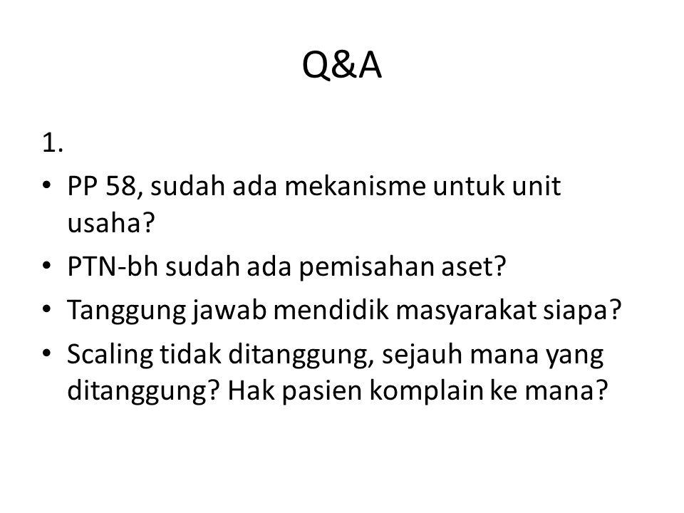 Q&A 1. PP 58, sudah ada mekanisme untuk unit usaha