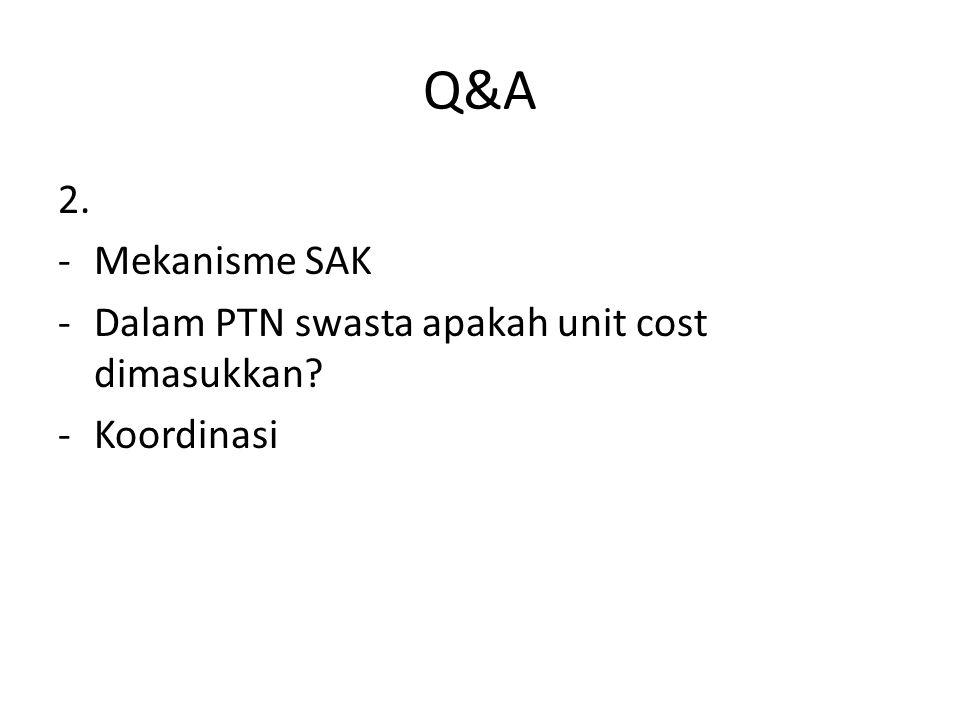 Q&A 2. Mekanisme SAK Dalam PTN swasta apakah unit cost dimasukkan
