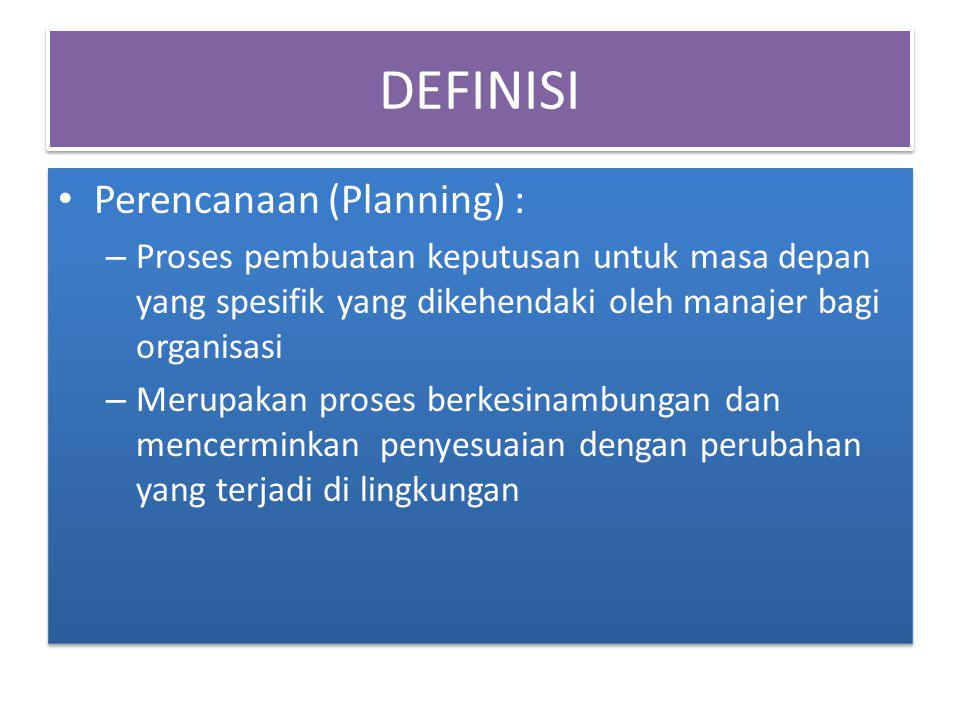 DEFINISI Perencanaan (Planning) :
