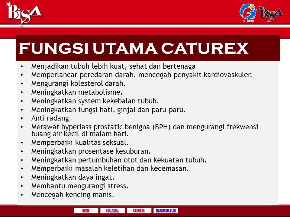 FUNGSI UTAMA CATUREX Menjadikan tubuh lebih kuat, sehat dan bertenaga.