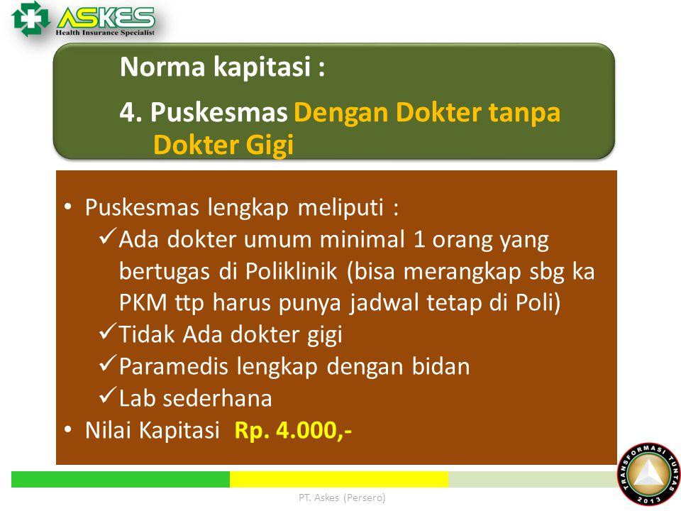 4. Puskesmas Dengan Dokter tanpa Dokter Gigi