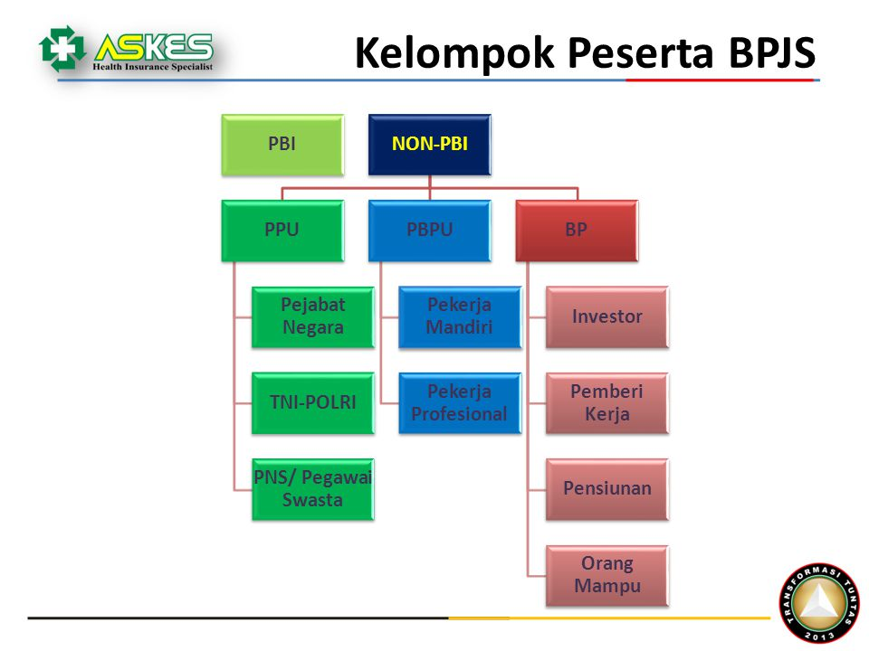 Kelompok Peserta BPJS PBI NON-PBI PPU Pejabat Negara TNI-POLRI