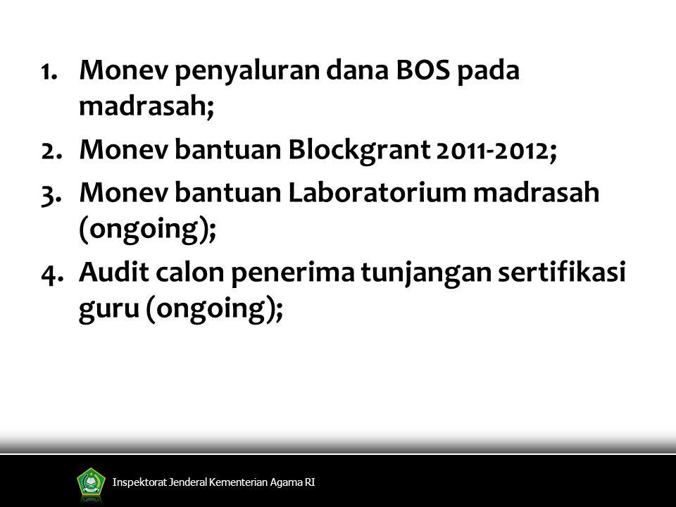 Monev penyaluran dana BOS pada madrasah;