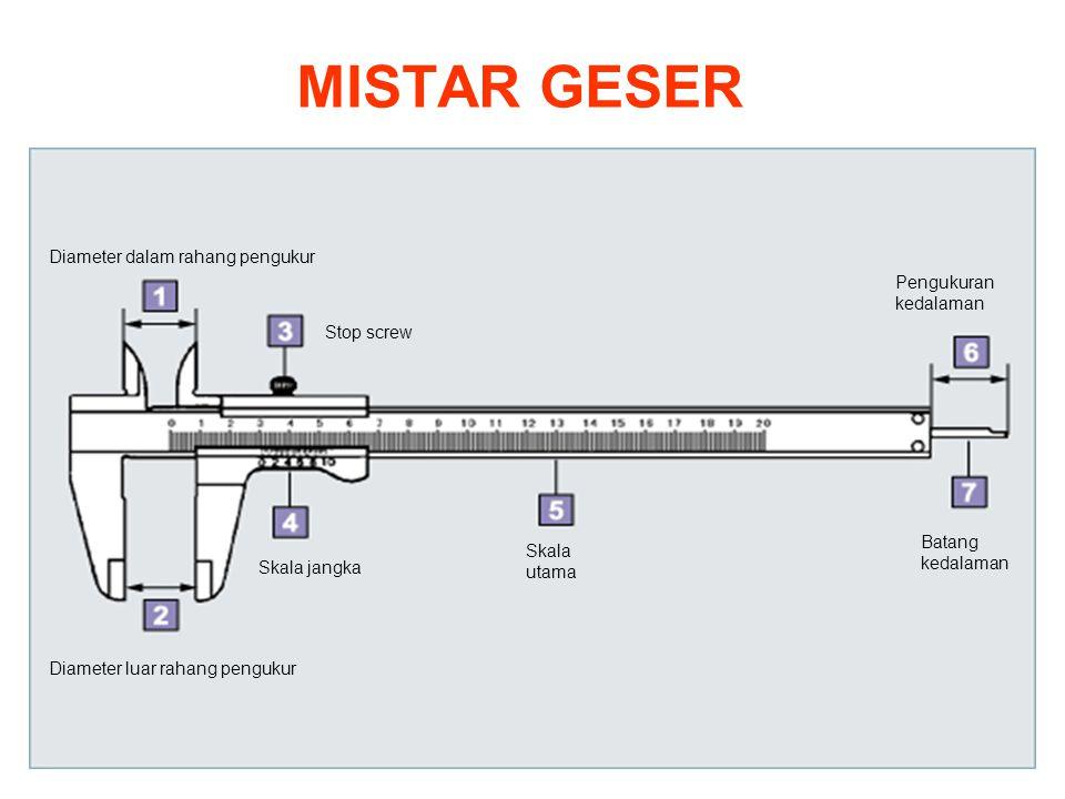 MISTAR GESER Diameter dalam rahang pengukur Pengukuran kedalaman