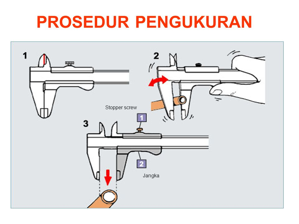 PROSEDUR PENGUKURAN Stopper screw Jangka Instruksi