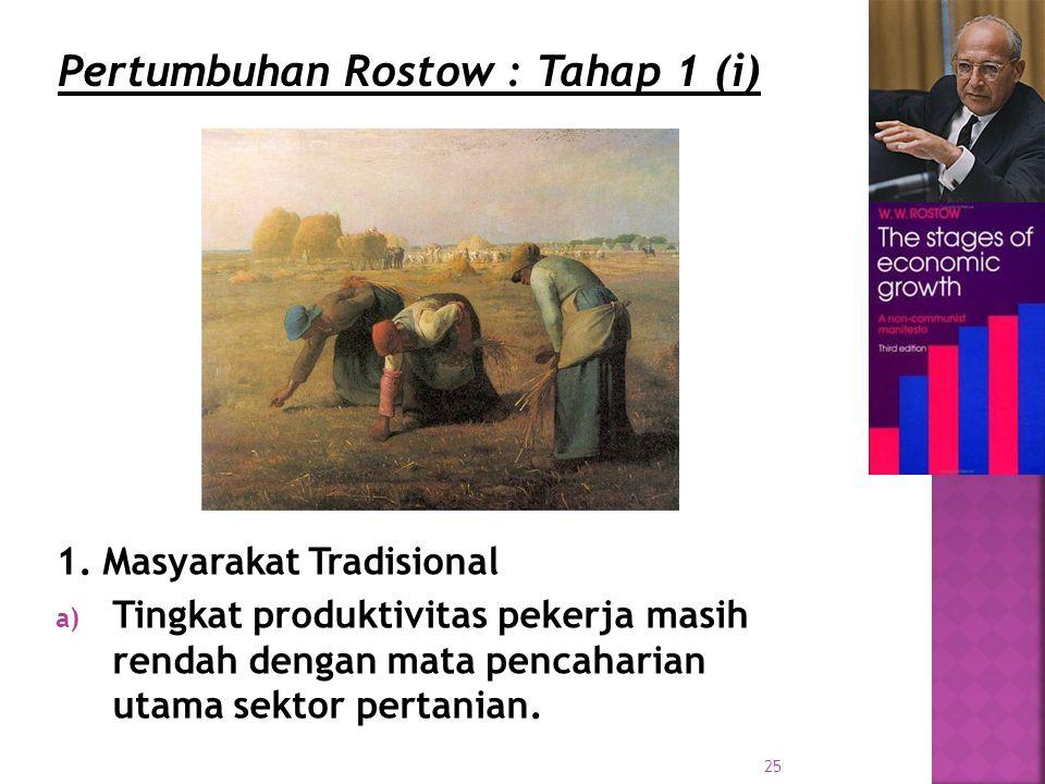 Pertumbuhan Rostow : Tahap 1 (i)
