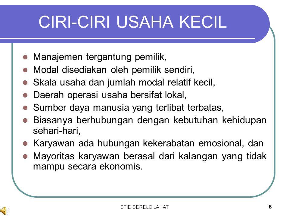 CIRI-CIRI USAHA KECIL Manajemen tergantung pemilik,