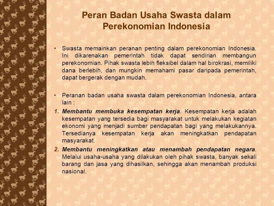 Peran Badan Usaha Swasta dalam Perekonomian Indonesia