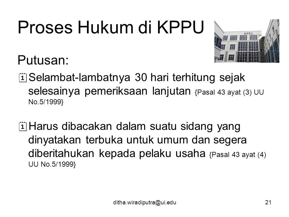 Proses Hukum di KPPU Putusan: