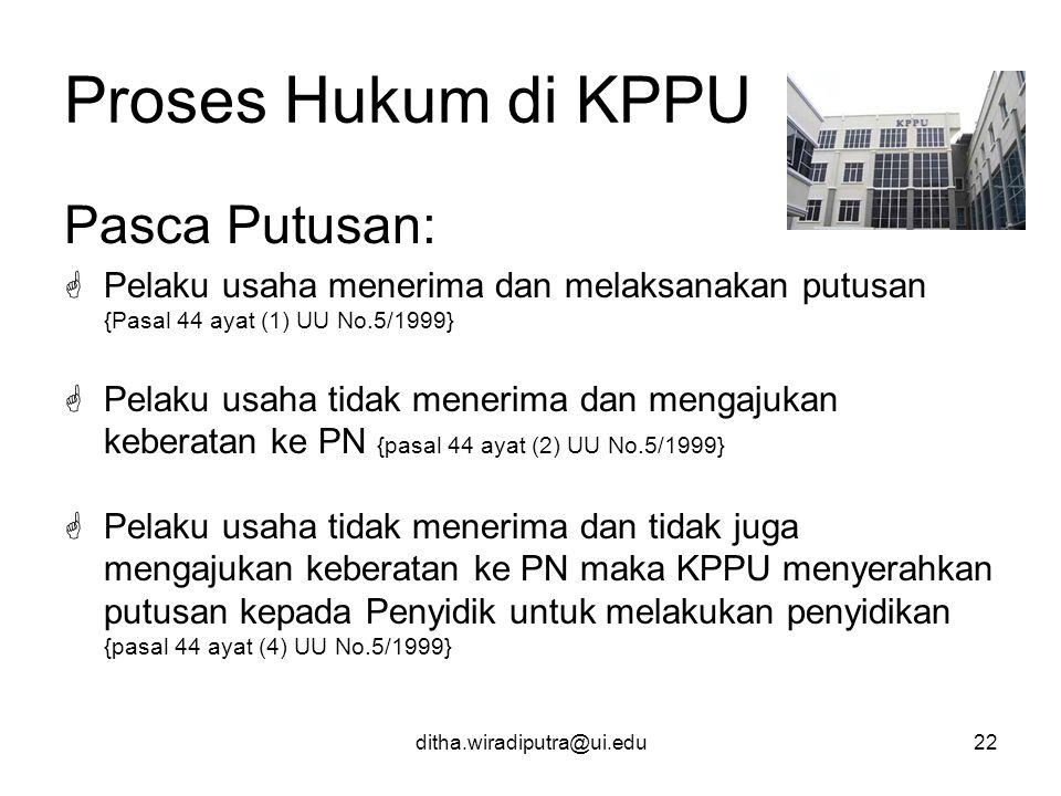 Proses Hukum di KPPU Pasca Putusan: