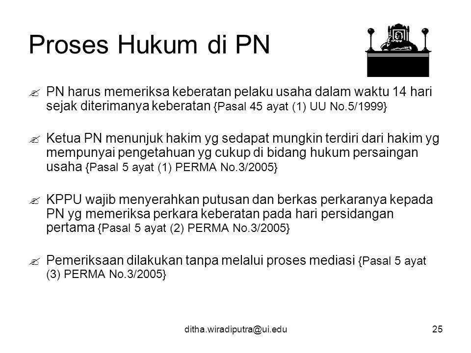 Proses Hukum di PN PN harus memeriksa keberatan pelaku usaha dalam waktu 14 hari sejak diterimanya keberatan {Pasal 45 ayat (1) UU No.5/1999}