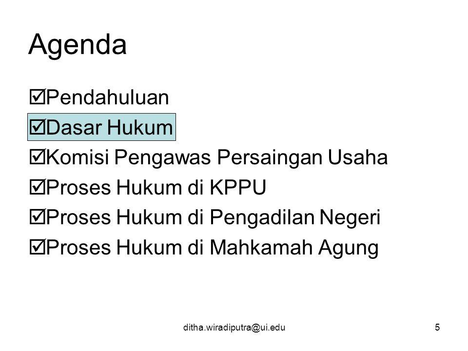 Agenda Pendahuluan Dasar Hukum Komisi Pengawas Persaingan Usaha