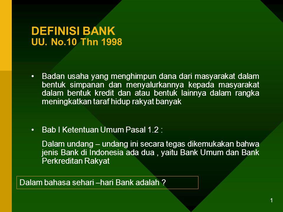 AZAS, FUNGSI DAN TUJUAN BANK UU. No. 10 - 1998
