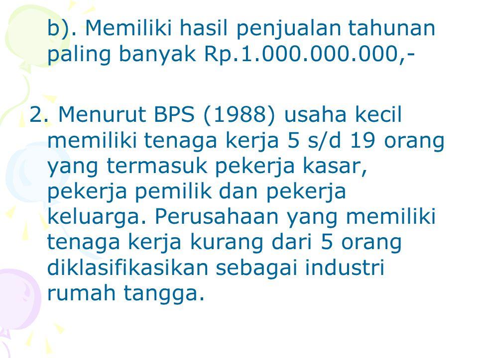 b). Memiliki hasil penjualan tahunan paling banyak Rp.1.000.000.000,-