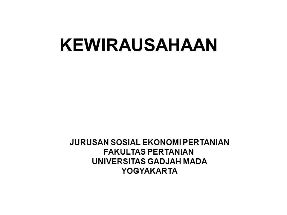 JURUSAN SOSIAL EKONOMI PERTANIAN UNIVERSITAS GADJAH MADA