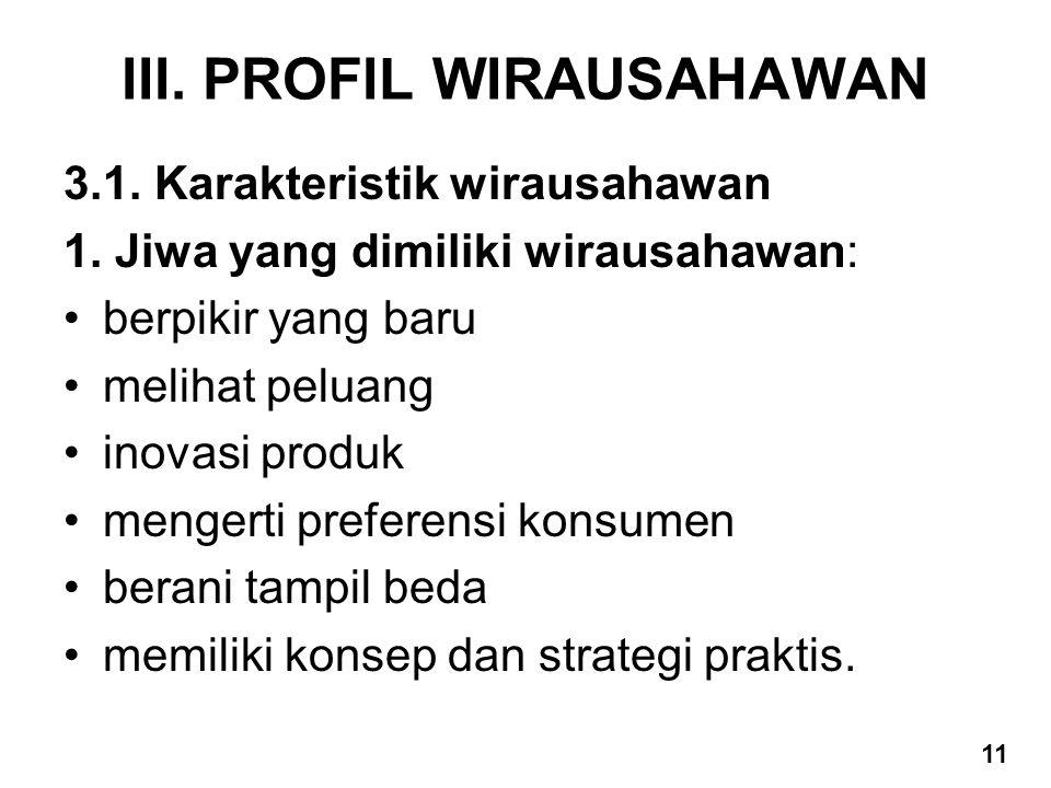 III. PROFIL WIRAUSAHAWAN