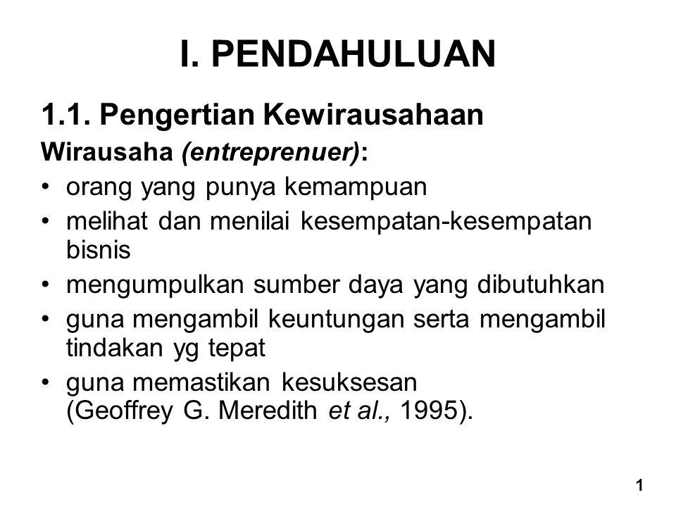 I. PENDAHULUAN 1.1. Pengertian Kewirausahaan Wirausaha (entreprenuer):