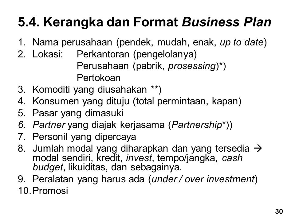5.4. Kerangka dan Format Business Plan