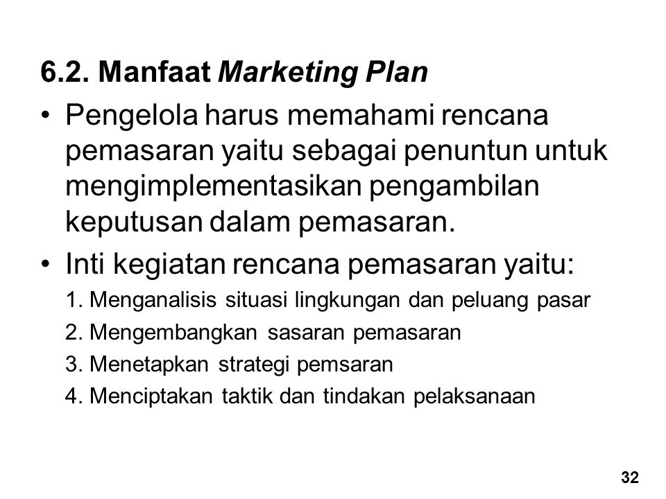6.2. Manfaat Marketing Plan