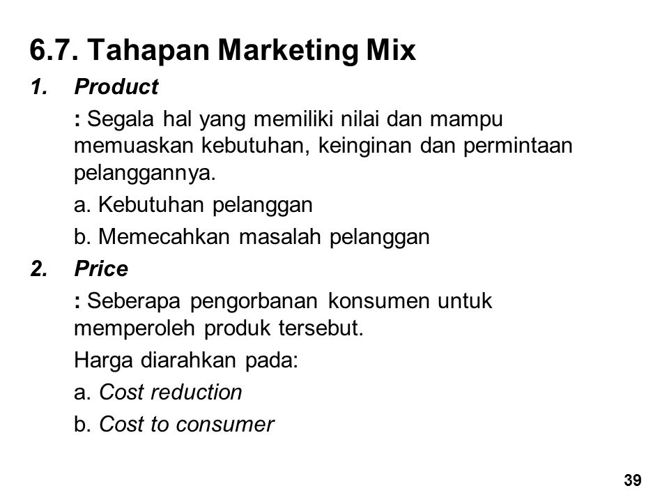 6.7. Tahapan Marketing Mix Product