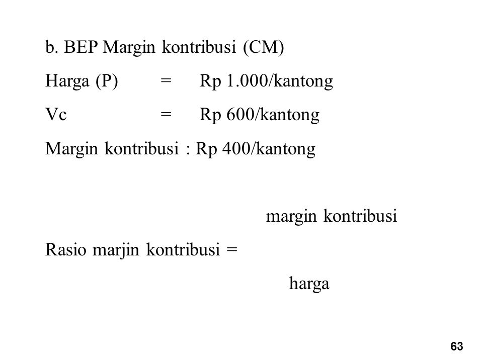 b. BEP Margin kontribusi (CM) Harga (P) = Rp 1.000/kantong