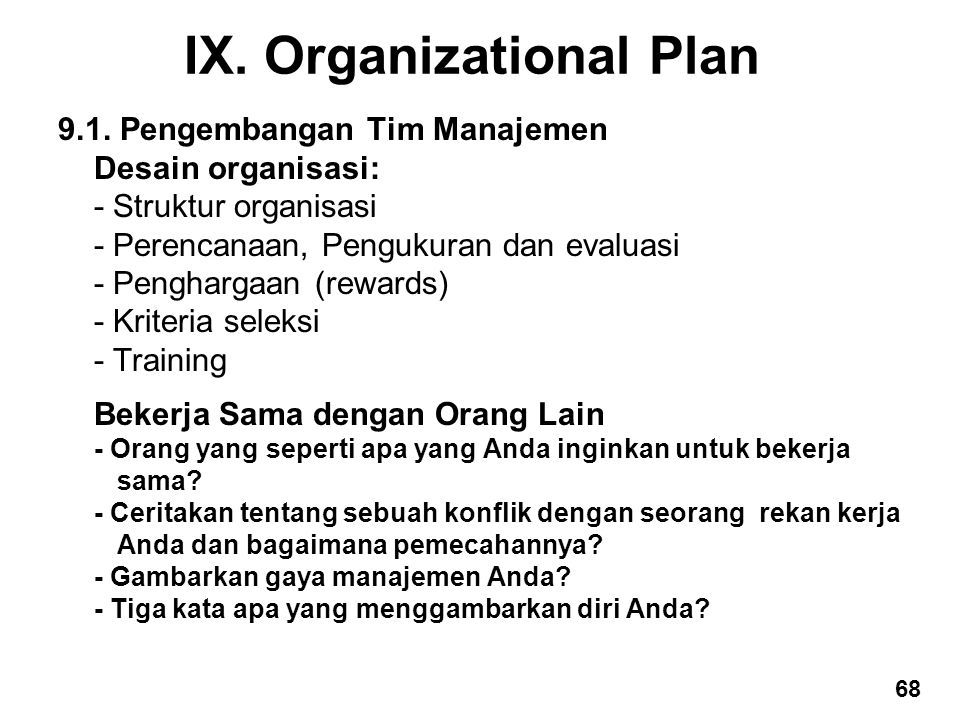 IX. Organizational Plan