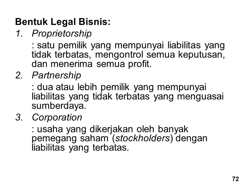 Bentuk Legal Bisnis: Proprietorship