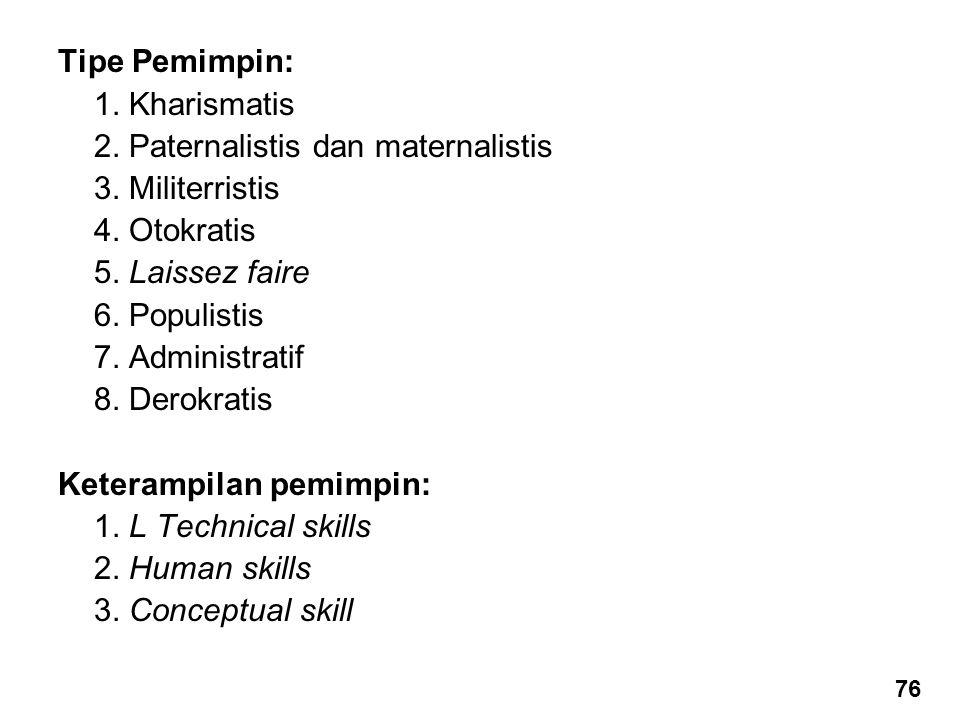 2. Paternalistis dan maternalistis 3. Militerristis 4. Otokratis