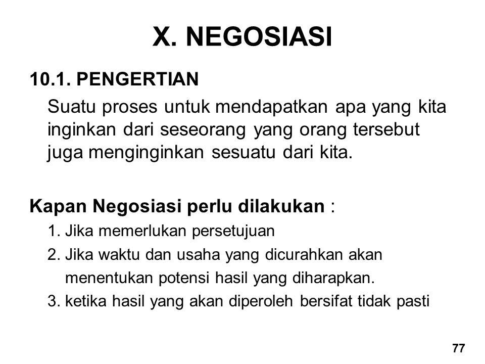 X. NEGOSIASI 10.1. PENGERTIAN