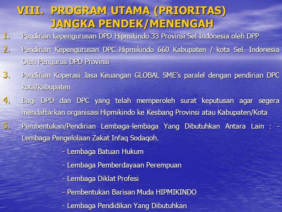 VIII. PROGRAM UTAMA (PRIORITAS) JANGKA PENDEK/MENENGAH