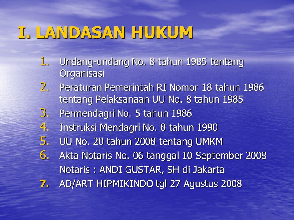 I. LANDASAN HUKUM Undang-undang No. 8 tahun 1985 tentang Organisasi