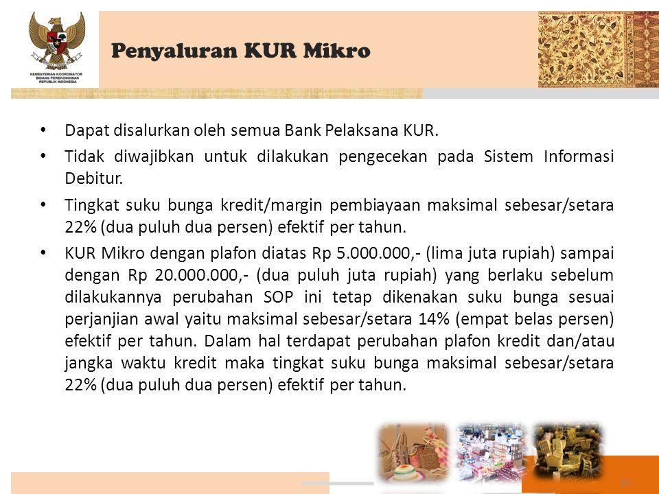 Penyaluran KUR Mikro Dapat disalurkan oleh semua Bank Pelaksana KUR.