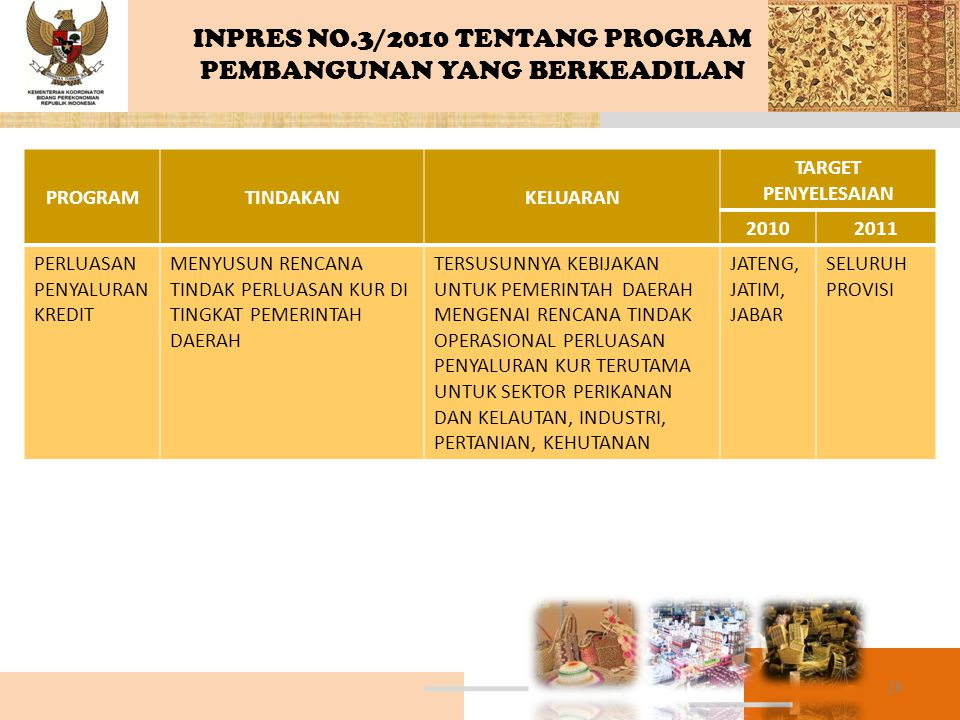 INPRES NO.3/2010 TENTANG PROGRAM PEMBANGUNAN YANG BERKEADILAN