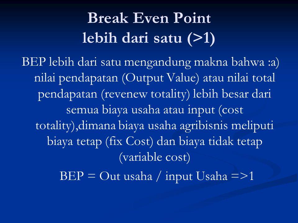 Break Even Point lebih dari satu (>1)