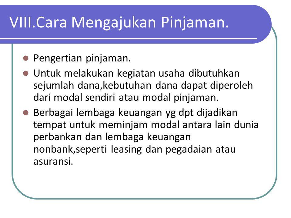 VIII.Cara Mengajukan Pinjaman.