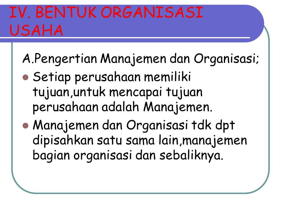 IV. BENTUK ORGANISASI USAHA