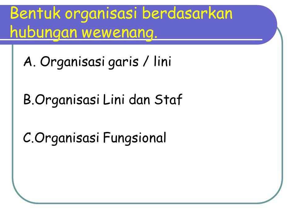 Bentuk organisasi berdasarkan hubungan wewenang.